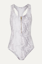 Heidi Klein Zip-detailed metallic ribbed swimsuit