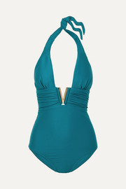 Heidi Klein Ribbed halterneck swimsuit