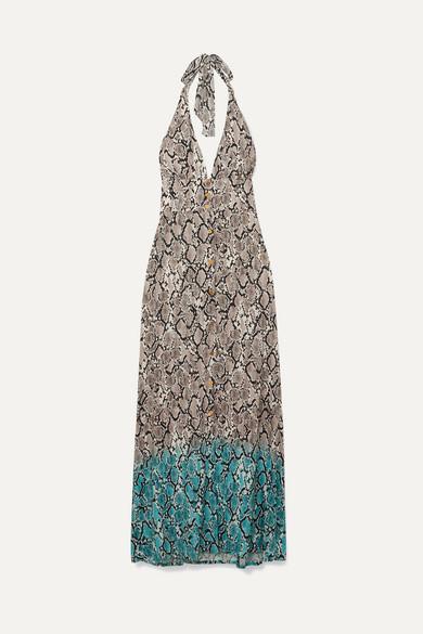 Mombasa Snake Print Jersey Halterneck Maxi Dress by Heidi Klein