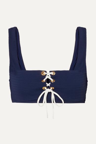 HEIDI KLEIN   Heidi Klein - Carlisle Bay Lace-Up Ribbed Underwired Bikini Top - Navy   Goxip
