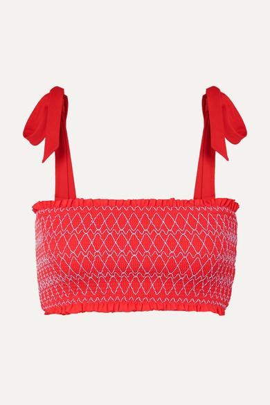 HEIDI KLEIN | Heidi Klein - Smocked Bandeau Bikini Top - Coral | Goxip