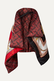 Burberry Printed mulberry silk-satin cape