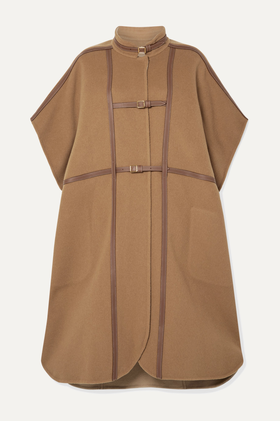Burberry Leather-trimmed wool-blend cape