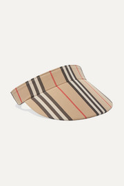 Striped cotton-canvas visor