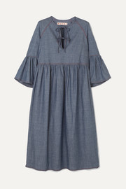 Marni Cotton-blend chambray midi dress