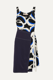 Marni Paneled printed cady dress