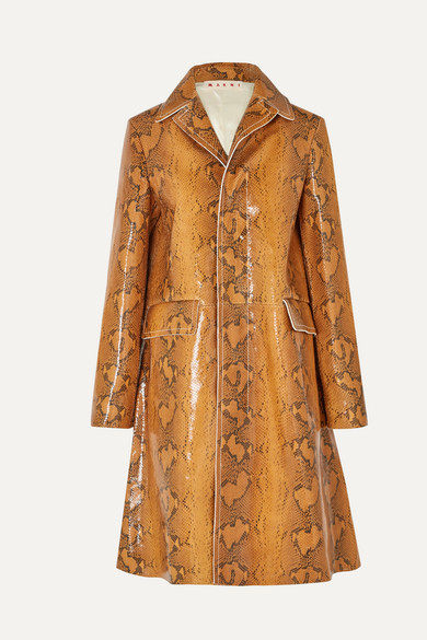 Exact Product: Snake-effect leather coat, Brand: Marni, Available on: net-a-porter.com, Price: EUR2380
