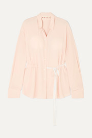 Marni Belted washed-crepe blouse