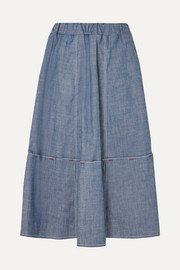 Marni Cotton-blend chambray skirt