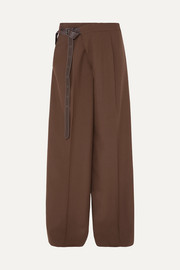 Marni Leather-trimmed wool wide-leg pants