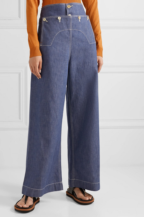 Button-embellished high-rise wide-leg jeans