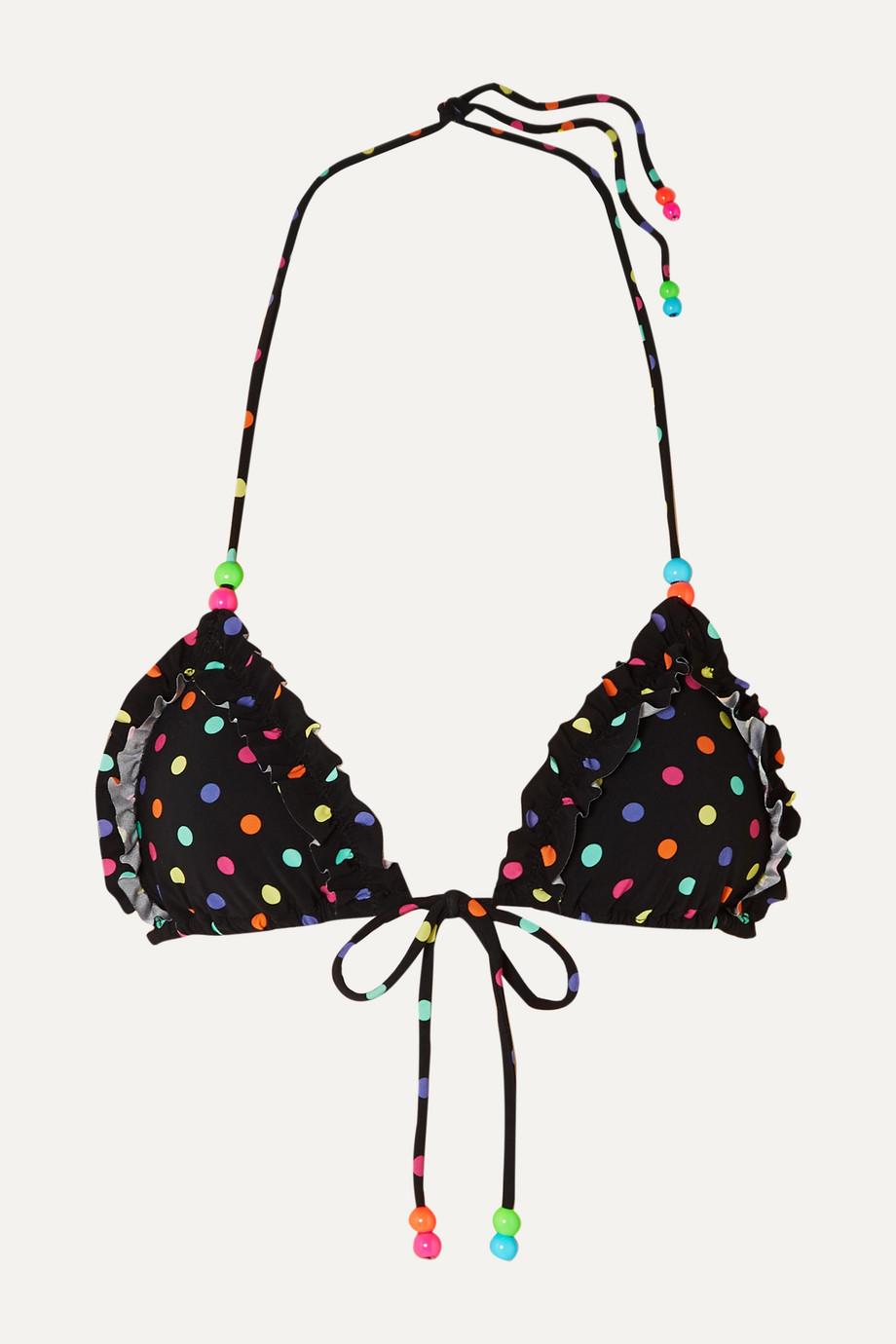 Agent Provocateur Sidnie bead-embellished polka-dot triangle bikini top