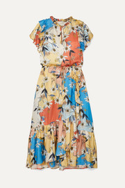 MUNTHE Dilemma ruffled floral-print satin midi dress