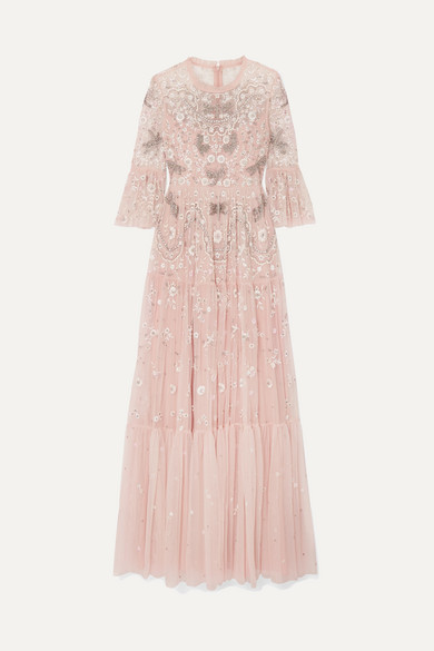 NEEDLE & THREAD | Needle & Thread - Dragonfly Garden Embellished Embroidered Tulle Gown - Blush | Goxip