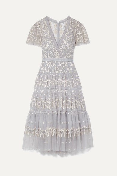 NEEDLE & THREAD | Needle & Thread - Angelica Tiered Embroidered Tulle Midi Dress - Sky Blue | Goxip