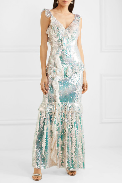 Scarlett Ruffled Sequined Tulle Gown by Needle & Thread