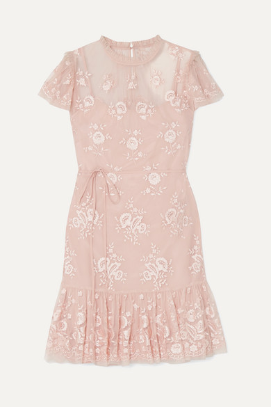 NEEDLE & THREAD | Needle & Thread - Ashley Embroidered Tulle Mini Dress - Blush | Goxip