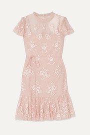 Needle & Thread Ashley embroidered tulle mini dress