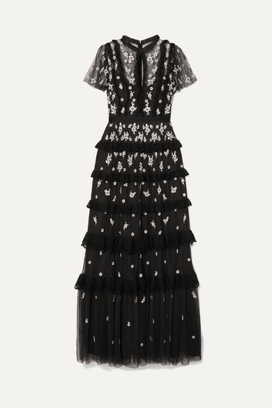 NEEDLE & THREAD | Needle & Thread - Lace-Trimmed Ruffled Embroidered Tulle Gown - Black | Goxip