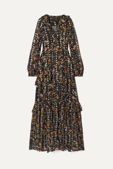 NEEDLE & THREAD | Needle & Thread - Ruffled Floral-Print Metallic Fil Coupé Chiffon Wrap Gown - Black | Goxip