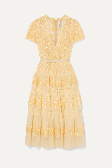 NEEDLE & THREAD | Needle & Thread - Angelica Tiered Embroidered Tulle Midi Dress - Yellow | Goxip