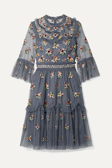 NEEDLE & THREAD | Needle & Thread - Magdalena Embellished Embroidered Tulle Dress - Navy | Goxip