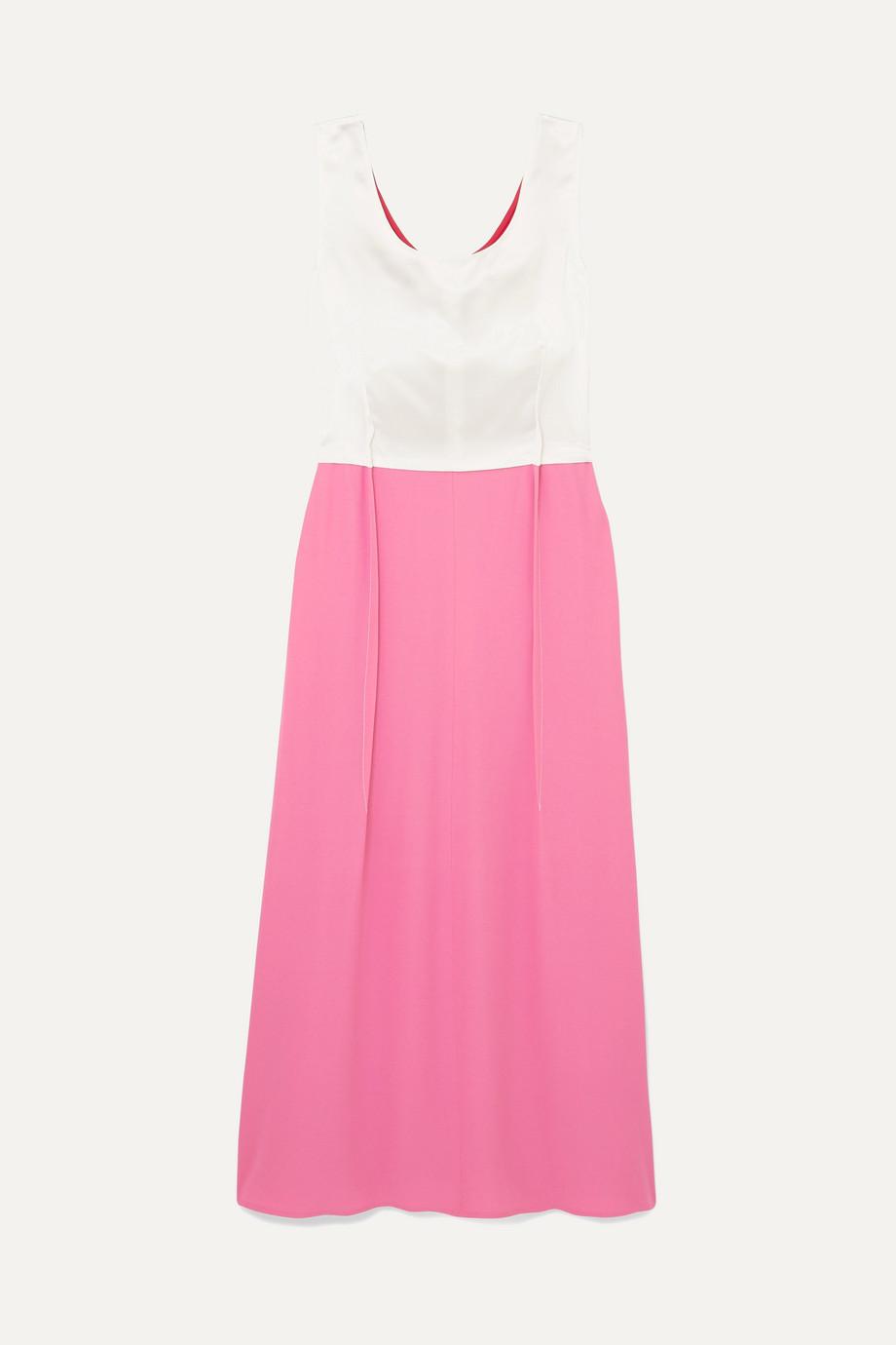 Marni Colour-block crepe and satin maxi dress