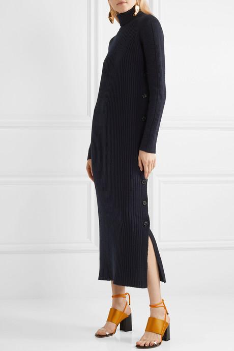Ribbed wool turtleneck maxi dress