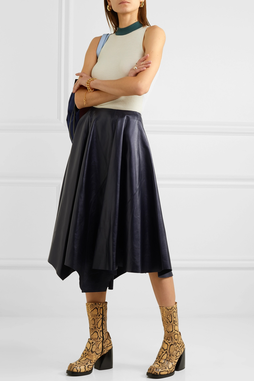 Marni Asymmetric leather midi skirt