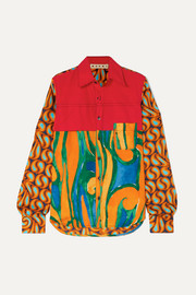 Marni Cotton-poplin and printed silk-twill shirt