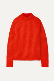 Ribbed mohair-blend turtleneck sweater