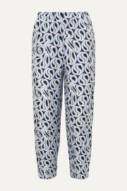 Marni Printed silk-twill tapered pants