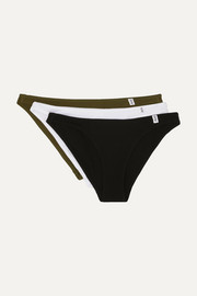 Les Girls Les Boys Set of three ribbed stretch-cotton jersey briefs