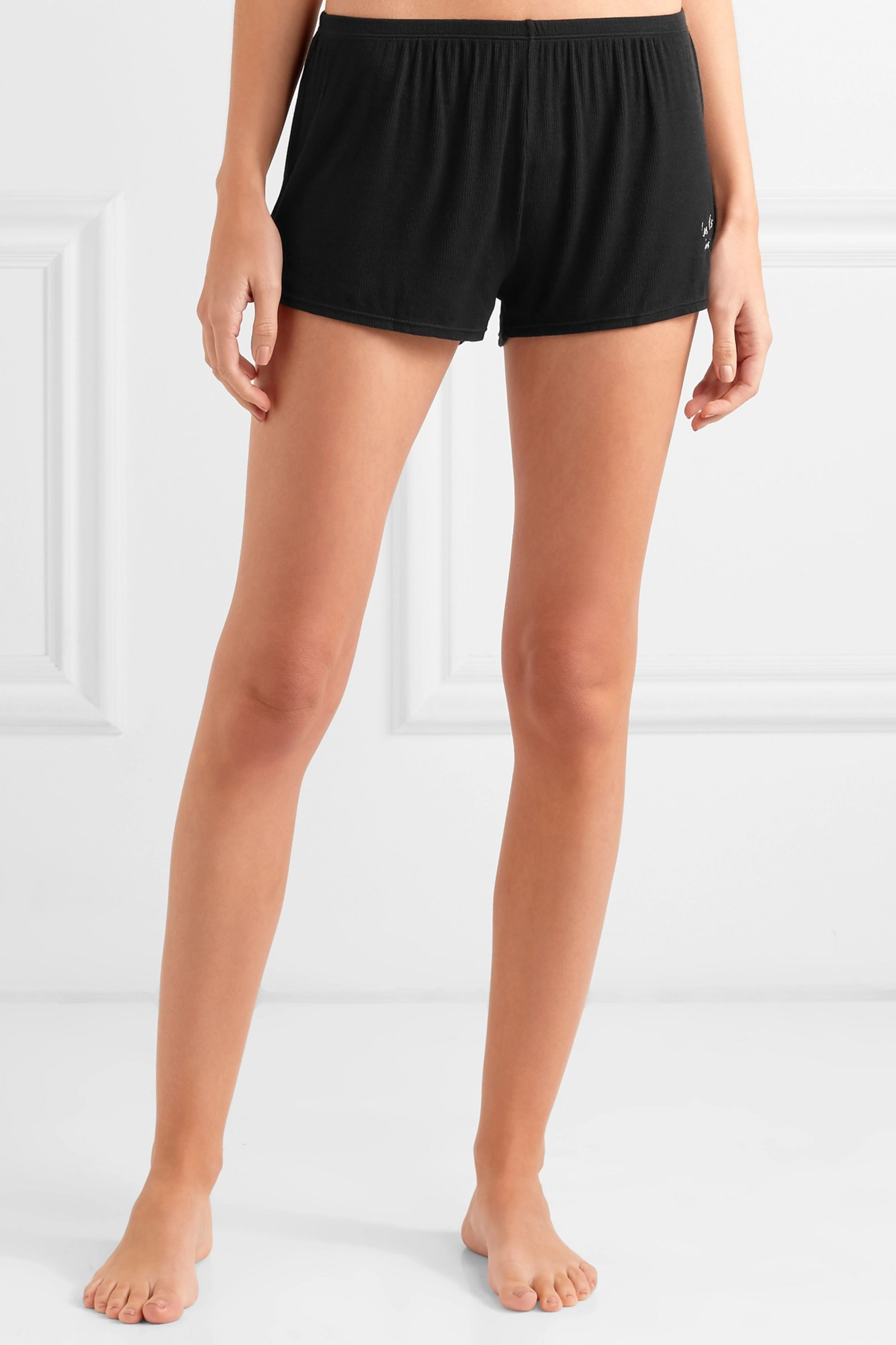 Les Girls Les Boys Embroidered ribbed stretch-jersey pajama shorts