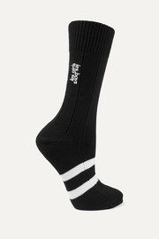 Classic embroidered striped cotton-blend socks