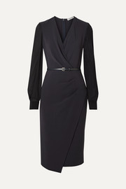 Manuel wrap-effect wool-blend crepe and silk-chiffon dress
