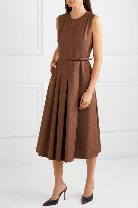 Belted brushed wool-twill midi dress