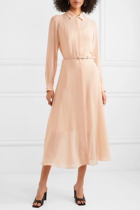 Delfi belted silk-chiffon midi dress