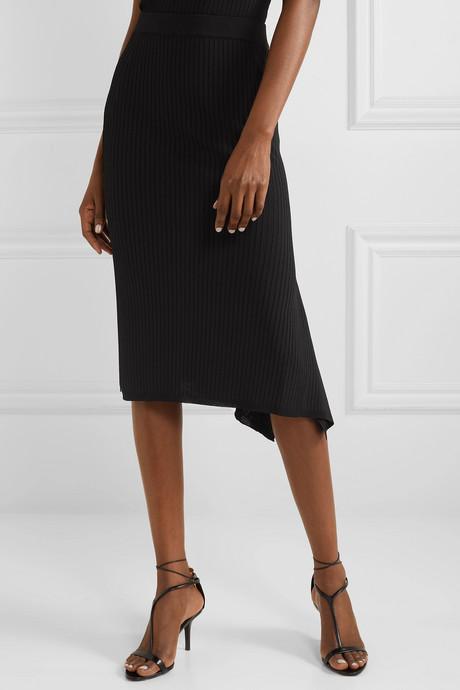 Fano draped asymmetric ribbed-knit midi skirt