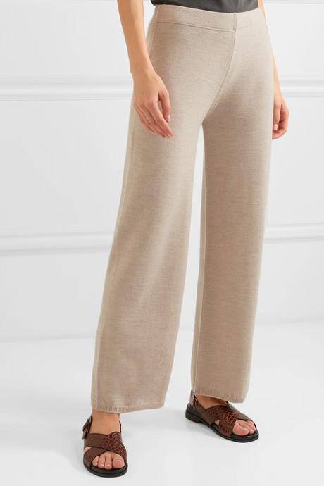 Leisure wool wide-leg pants