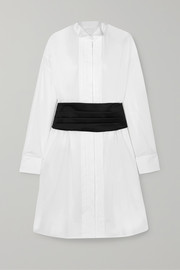 MM6 Maison Margiela Satin-trimmed pintucked cotton-poplin dress