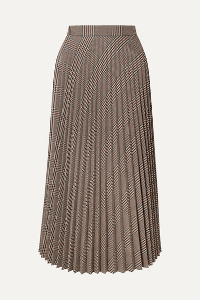 7cb6b1896 MM6 Maison Margiela | Pleated checked woven midi skirt | NET-A ...