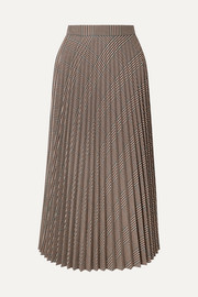 MM6 Maison Margiela Pleated checked woven midi skirt