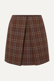 MM6 Maison Margiela Pleated checked woven mini skirt