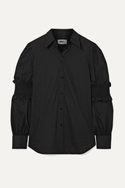 MM6 Maison Margiela Shirred cotton-poplin shirt