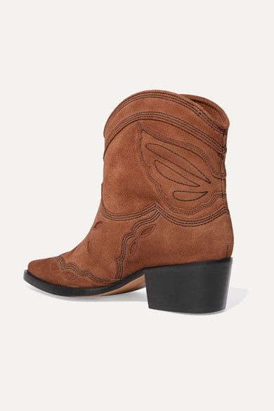 Ganni Boots Low Texas embroidered suede ankle boots