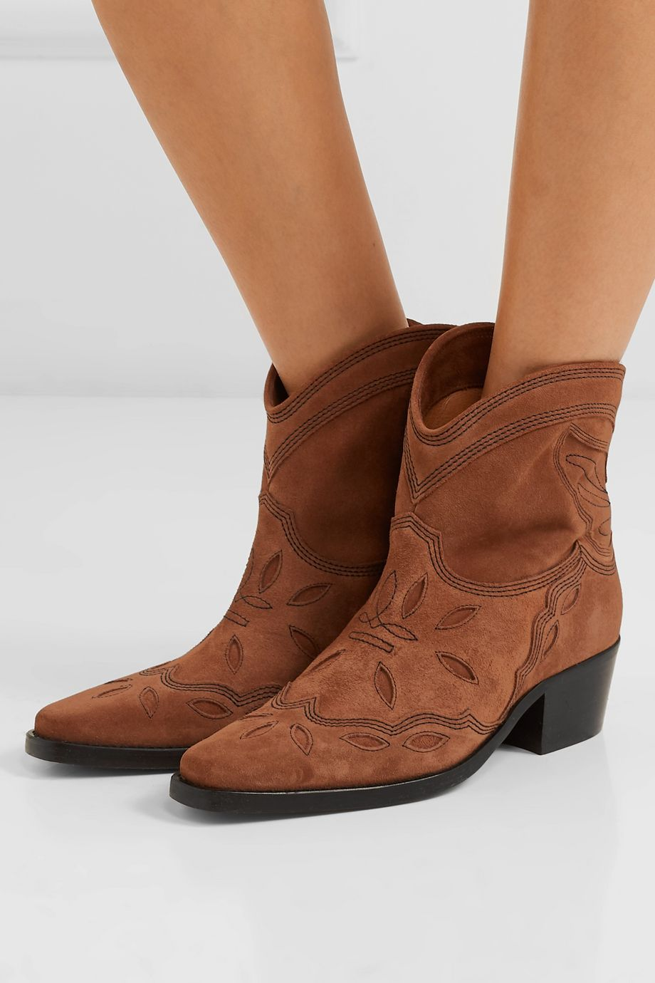 GANNI Low Texas embroidered suede ankle boots