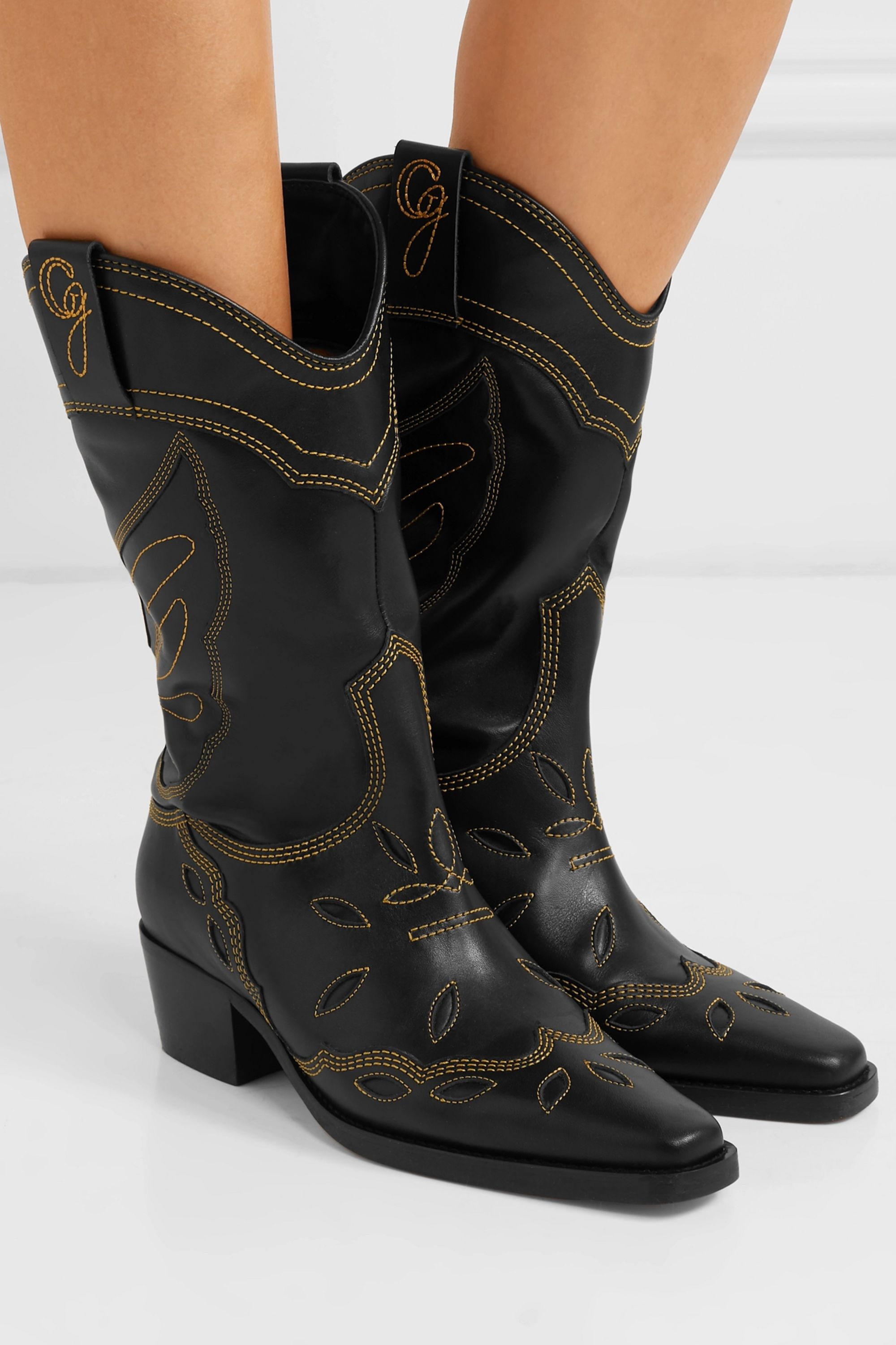 Black High Texas embroidered leather