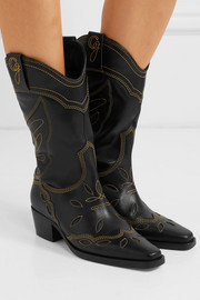 GANNI High Texas embroidered leather boots