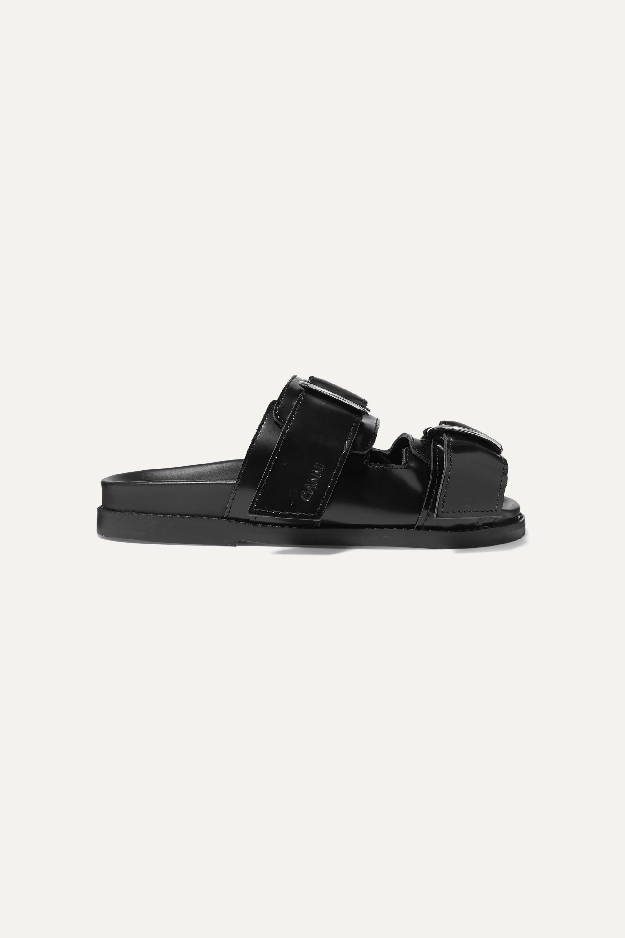 GANNI Buckled polished-leather slides